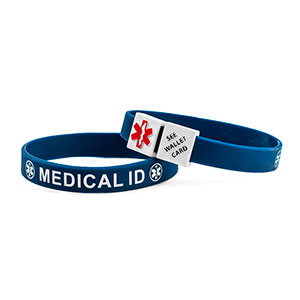 MediCube ID Navy - See Wallet Card Silicone Wristband - HSKU:CubeCARD-6096