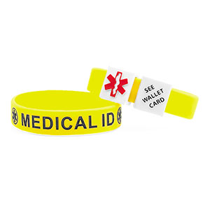 MediCube ID Yellow - See Wallet Card Silicone Wristband - HSKU:CubeCARD-6097