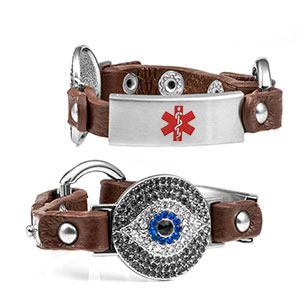 Brown Lucky Watching Eye Leather Medical Bracelet with Crystal Design - HSKU:2030-BRN