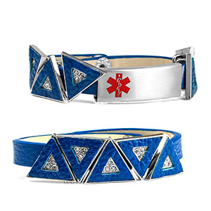Blue Leather Bracelet with Crystal Triangles - Medical ID - HSKU:2034