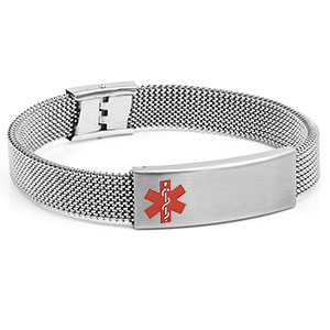 Stainless Steel Stretch Mesh Medical Bracelet 9 inch Adjustable - HSKU:3025-L