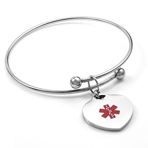 Medical Heart Bangle Bracelet - HSKU:4024