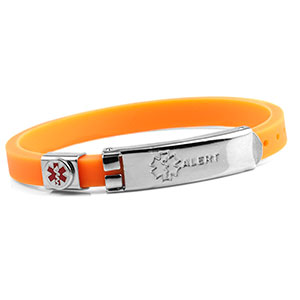 Rubber Bracelet Thin - Orange - Medical ID - HSKU:6053