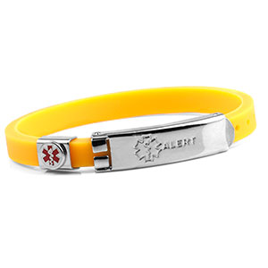 Rubber Bracelet Thin - Yellow - Medical ID - HSKU:6056