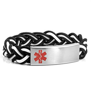 Braided Elastic Black Shadow Bracelet - Medical ID - HSKU:8096