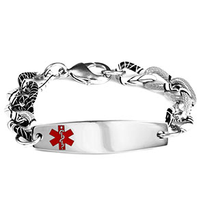 Black and White Medical Bracelet - 6 1/2 inch - HSKU:8046-S