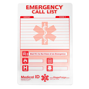 Emergency Call List Contact Card - HSKU:HC-109