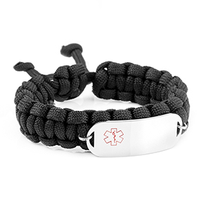 Black Adjustable Paracord Bracelet Medical ID - HSKU:5009