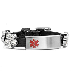 Black Leather Bracelet with Crystal Flowers - Medical ID - HSKU:2028-B