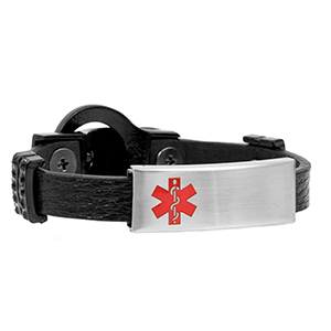 Black Leather Bracelet with Studded Buckle - Medical ID - HSKU:2027-B