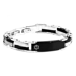 Black Silver Men's Medical Bracelet