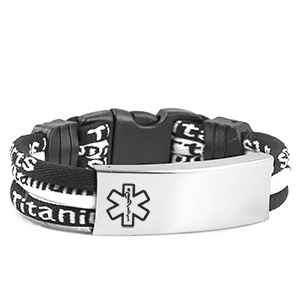 Black/White Titanium Sport Band Medical Bracelet  6 inch
