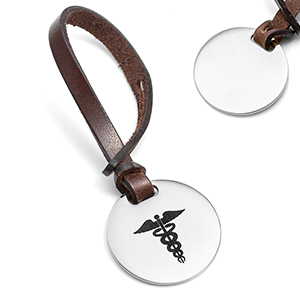 Brown Leather Medical Luggage Tag