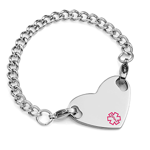 Girls Medical Bracelet with Heart Tag