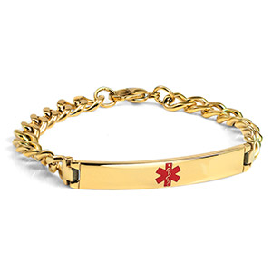 Gold Plated Bracelet  Medical ID Bracelet 8 inch - HSKU:1054