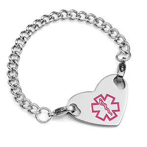 Girls Medical Bracelet with Heart Tag 5 1/2 Inch