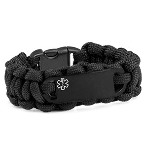 Kids Black Paracord Medical ID Bracelet & Black Tag XS