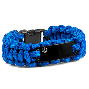 Blue Paracord Medical ID Bracelet & Black Tag MD