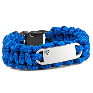 Blue Paracord Medical ID Bracelet & Steel Tag SM