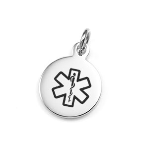 Medical  Round Stainless Pendant 5/8 inch