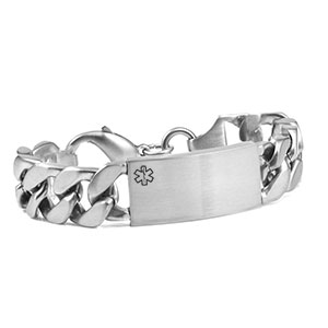 Large Link Medical Silver ID Bracelet 7 1/2 Inch