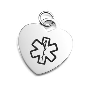 Medical Silver Heart Pendant 1 x 7/8 inch