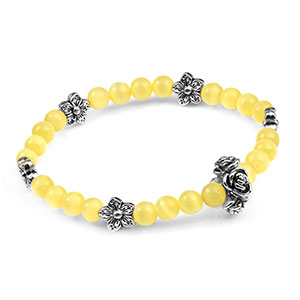 Yellow and Silver Flower Bead Bracelet - HSKU:1083-1GA