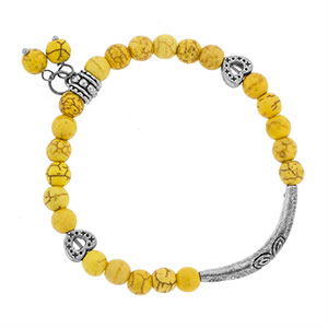 Yellow and Silver Bead Bracelet - HSKU:1083-2GA