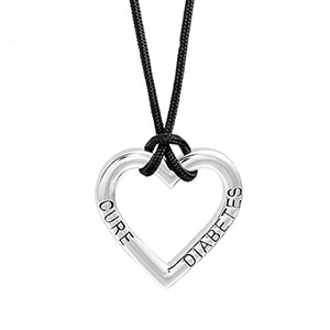 Cure Diabetes Heart Shaped Diabetic Jewelry Necklace