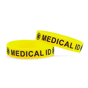 Small-  Silicone Yellow /w blue Medical Alert Symbol-Child - 150MM - HSKU:6097