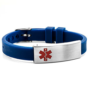 Dark Blue Rubber Medical Bracelet with Watch Band Buckle - HSKU:6085