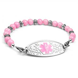 Pink and Silver Bead Bracelet 7.5 inches