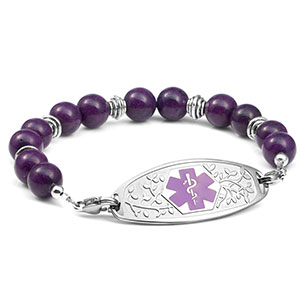 Purple and Silver Bead Bracelet with Medical Tag 7.5 inches