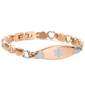 Rose Color Stainless Medical Hearts Bracelet 7.5 inch - HSKU:5106