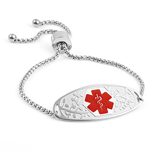 Adjustable Medical Bracelet with 3D Tag Red Symbol