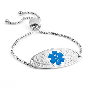 Adjustable Medical Bracelet with 3D Tag Blue Symbol