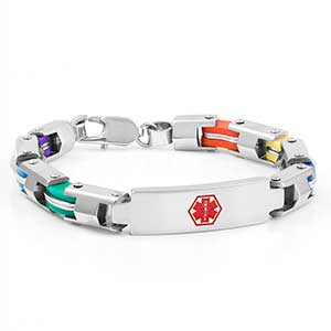 Stainless Six Color Fashion Medical Bracelet - 7.5 inch - HSKU:8020