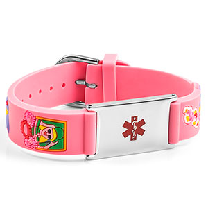 Rubber Watch Band Pink Girls & Hearts Kids ID Bracelets