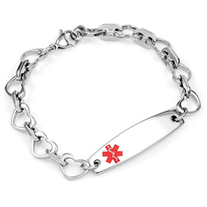 Stainless Steel Heart Link Medical Bracelet 7 inch - HSKU:8011