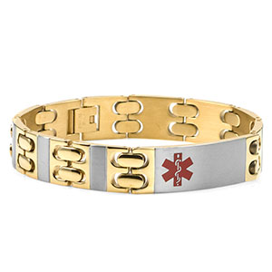 Gold Two-Tone Mens Medical ID Bracelet 9 inch - HSKU:8036