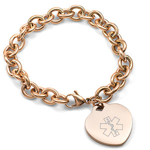 Womens Rose Color Heart Charm Medical Bracelet - HSKU:8037