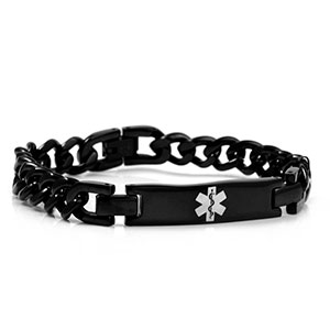 Black Stainless Curb Link Medical Bracelet - HSKU:8038
