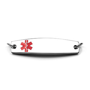 Stainless Medical ID Bracelet Tag with Red Caduceus - HSKU:A1003