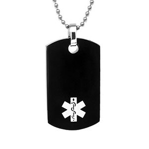 Dog Tag Stainless Black Plated Caduceus Necklace - HSKU:1047