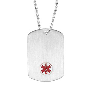 Dog Tag Stainless Steel Classic - 24 inch - Medical ID - HSKU:1046