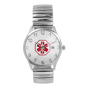 Mens White Expansion Medical ID Watch - HSKU:DTC-603X