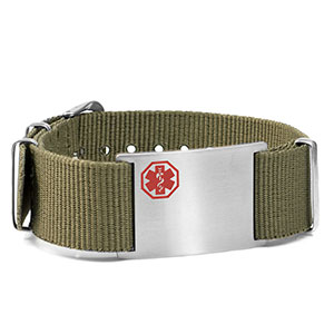 Olive Nylon Watch Band Medical Bracelet - HSKU:DTJ-3640GR