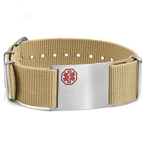 Tan Nylon Watch Band Medical Bracelet - Medical ID - HSKU:DTJ-3640TN