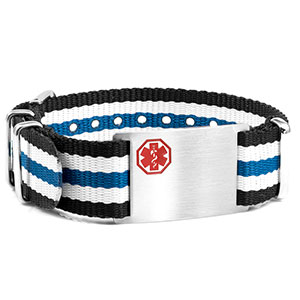 Blue, White and Black Nylon Stripe Medical Bracelet - HSKU:DTJ-3643
