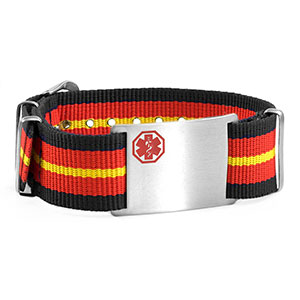 Navy, Red, Yellow Nylon Stripe Medical Bracelet - HSKU:DTJ-3645